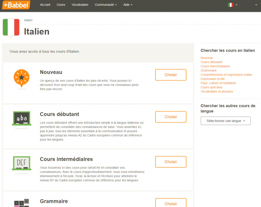 Interface du site Babbel